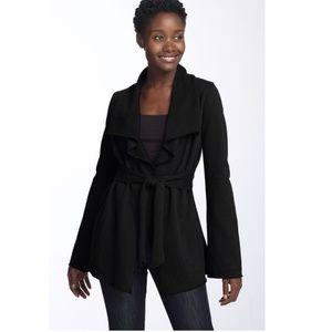 Lucky Brand Subuya Knit Black Wrap Hood Cardigan